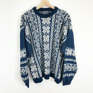Vintage 90's Le Tigre Snowflake Ski Sweater Blue